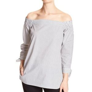 Banana Republic Off the Shoulder Striped Blouse